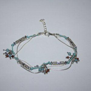 Silver and blue adjustable ankle bracelet